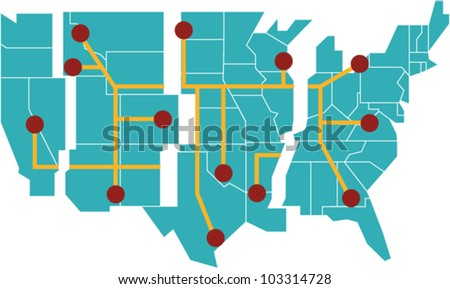 Map of the United States separated into regions - stock vector
