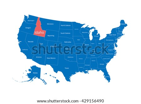Map of the USA. Image with clipping path and name of states. State mark. Idaho. Vector illustration. - stock vector