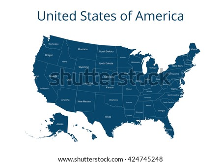 Map of the USA. Image with clipping path and name of states. State mark Vector illustration. - stock vector