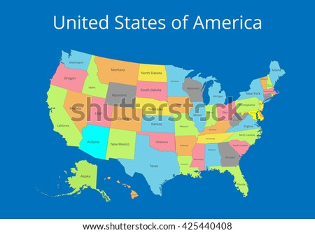 Map of the USA. Image with clipping path and name of states. Vector illustration.