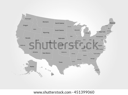 Us Map State Name Postal Abbreviation Stock Vector - Picture of us map with state names