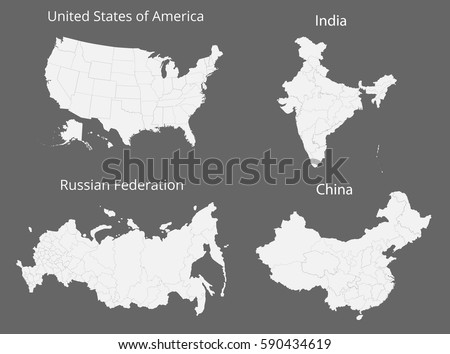Map usa russia india china vector stock vector hd royalty free map of the usa russia india and china vector illustration gumiabroncs Image collections
