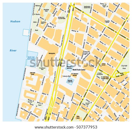 Downtown new york city map on