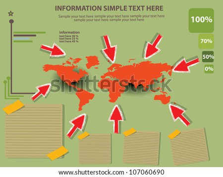 Map of the world and paper,Vector - stock vector