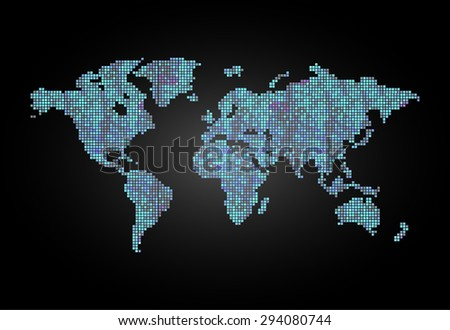 map of the world blue black pixel background. vector illustration. dot. table. square. Mosaic. ingographics. background for computer graphic website internet and technology. - stock vector