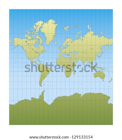 Map of the world centered in Europe and Africa. mercator projection - stock vector