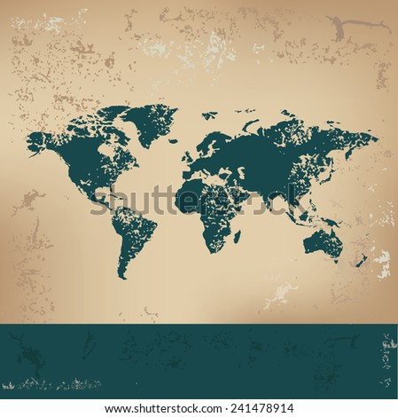 Map of the world design on old paper, grunge vector - stock vector