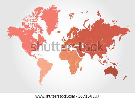 Map of the world divided into layers for each country and separated by colors per world regions for easy editing.