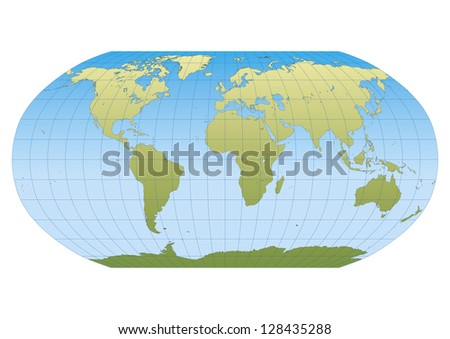 Map of the world in Robinson projection with graticule. Centered in Europe and Africa - stock vector