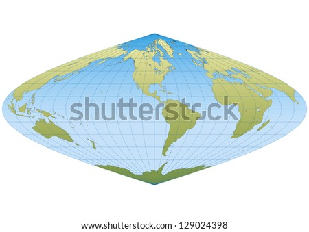 Map of the world in Sinusoidal projection with graticule. Centered in America