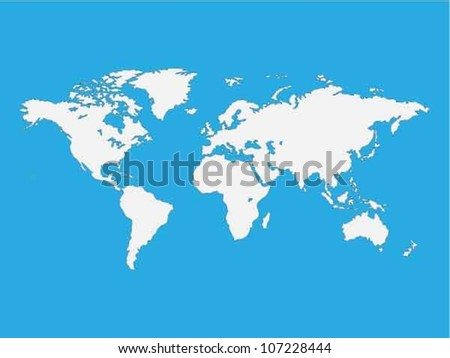 Map of the world isolated on blue - stock vector