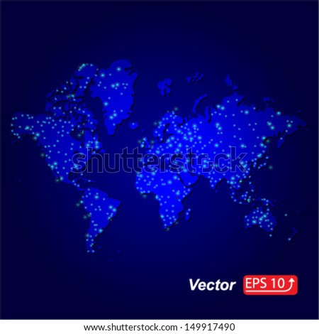 map of the world on dark blue  background vector - stock vector
