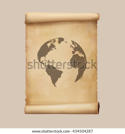 Map of the world on papyrus scrolls. Vector illustration.
