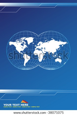 Map of the world on the abstract background