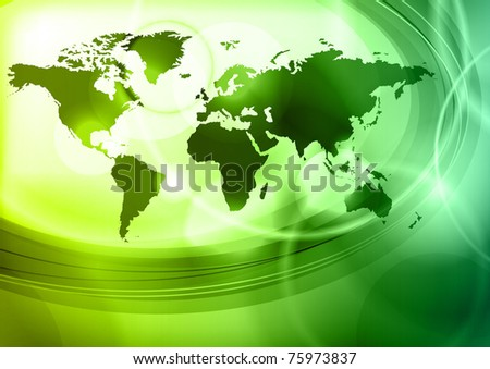 map of the world on the green - stock vector