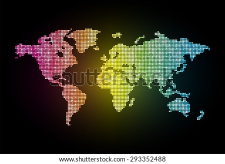 map of the world pink yellow blue black pixel background. vector illustration. dot. table. square. Mosaic. ingographics. background for computer graphic website internet and technology. - stock vector