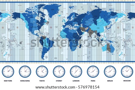 Time zone stock images royalty free images vectors shutterstock map of the world standard time zones in blue colors gumiabroncs Images