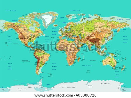 Map of the World. Vector illustration. Names of countries and cities, continents, state borders are located on separate layers. - stock vector