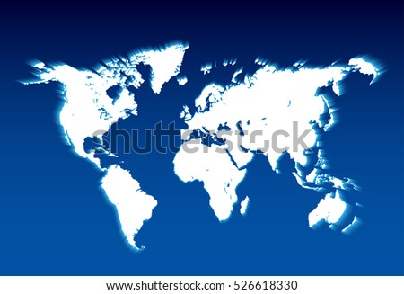 Map of the world - vector illustration.shining world map on blue background.