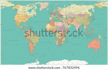 Map world vintage style large detailed stock vector 767832496 map of the world vintage style large detailed world map vector illustration gumiabroncs Gallery