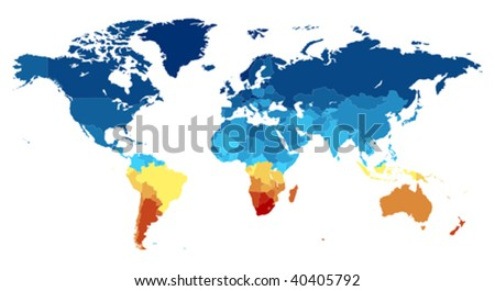 Map of the World with countries in various colors. Vector illustration.