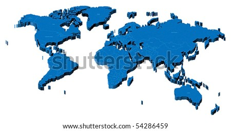 Map of the World with national borders and country names. Pseudo-3d vector illustration. - stock vector