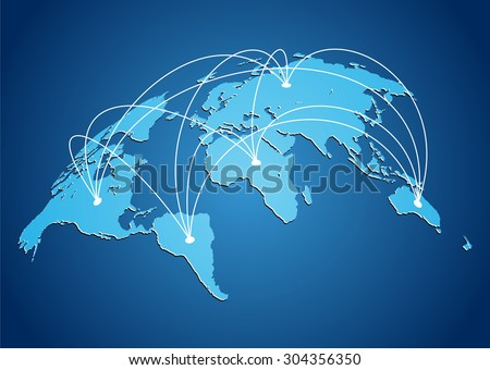 Map of the world with with connection lines of continents in vector - stock vector