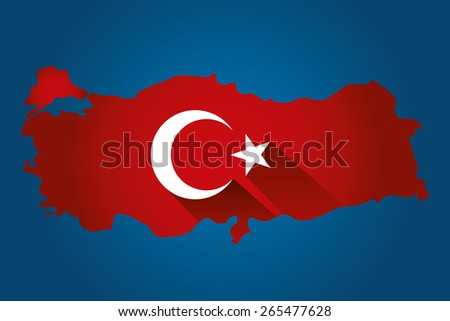 Map of Turkey and national flag symbols, Cyan Background - stock vector