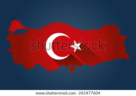 Map of Turkey and national flag symbols, Navy Background  - stock vector
