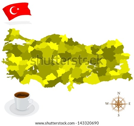 Map of Turkey, provinces and regions - stock vector