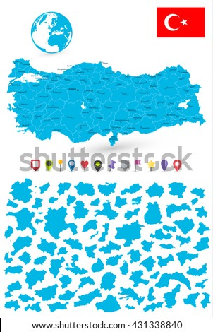 Map of Turkey with it's states and flat map pointers isolated on white. - stock vector