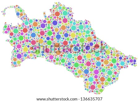 Map of Turkmenistan - Asia - in a mosaic of harlequin circles