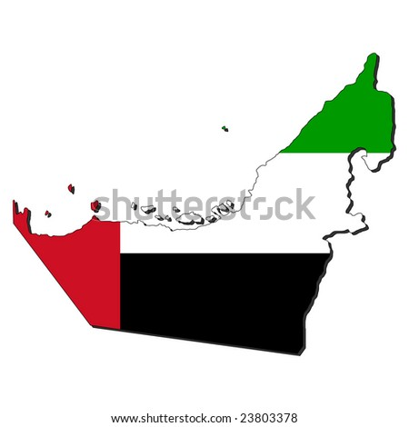 map of UAE and their flag illustration - stock vector