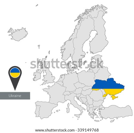 Map of Ukraine with an official flag. Location in Europe  - stock vector