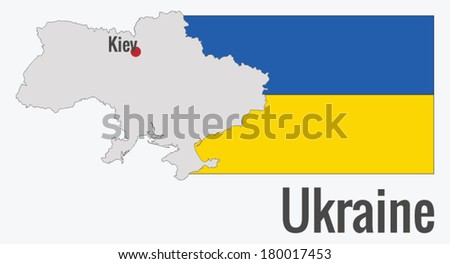 Map of Ukraine with the flag, vector