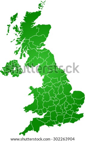 map of united kingdom - stock vector