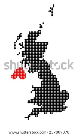 Map of United Kingdom (UK, United Kingdom of Great Britain and Northern Ireland) with stylized map of Northern Ireland made from dots