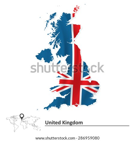 Map of United Kingdom with flag - vector illustration - stock vector
