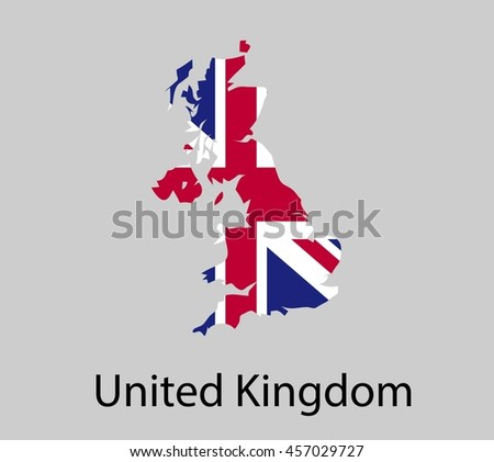 Map of United Kingdom with flag. Vector illustration.