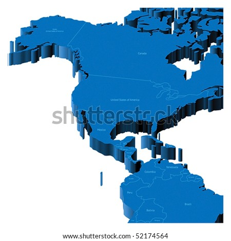 Map of United States, Alaska, Central America with national borders and country names. Pseudo-3d vector illustration. - stock vector