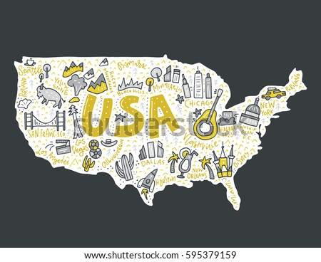 Map Of United States In Cartoon Style Travel Usa Concept