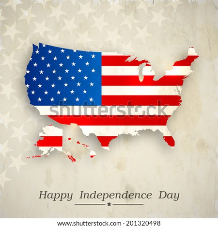 Map of united states of america on grungy brown background for 4th of July, American Independence Day celebrations.  - stock vector