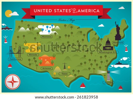 Map of United States of America Vector Illustration - stock vector