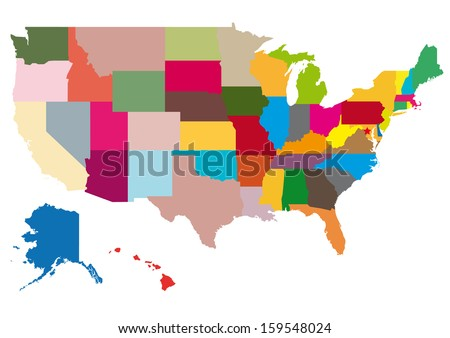 Map United States America Vector Set Stock Vector - Map of united states of america