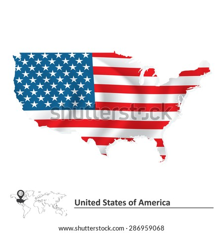 Map of United States of America with flag - vector illustration - stock vector