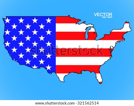 Map of United States of America with flag. Vector illustration. Eps 10