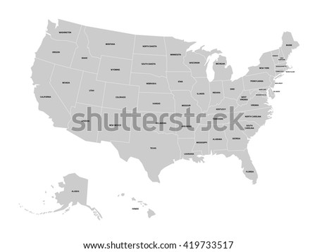 Map of United States of America with name of each state. Simplified grey vector map on white background and black labels.