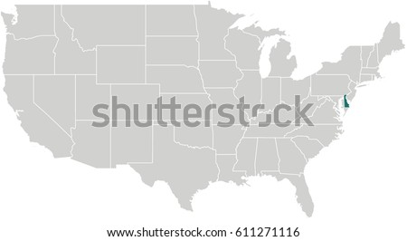 Map United States Delaware Highlighted Stock Vector - Us map delaware
