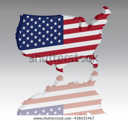 Map of United States with flag 3D, silhouette, reflection, EPS10 vector