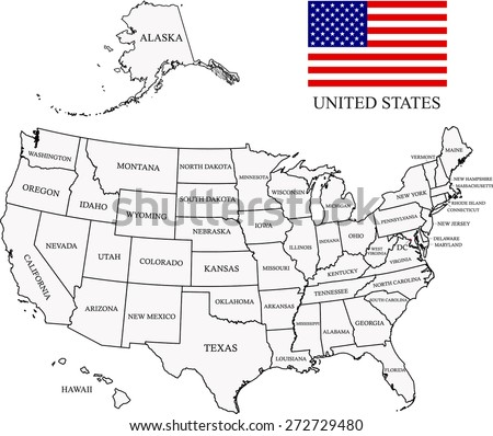 Map of United States with states names and capital location and name, Washington DC, USA map outlines and US flag  - stock vector